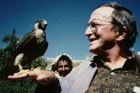 With a hunting falcon