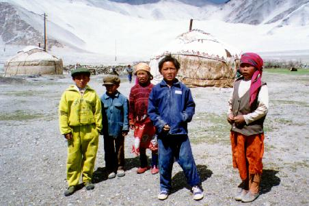 Kyrkyz children and yurts